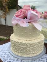 Wedding Cake- pink bow