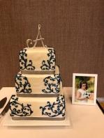 Wedding Cake- blue swirl