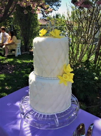 wedding cake- quilted fondant